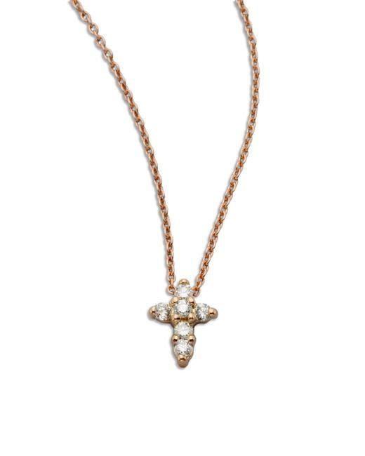 Roberto Coin | Metallic Tiny Treasures Diamond & 18k Rose Gold Mini Cross Pendant Necklace | Lyst