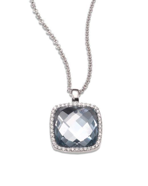 Roberto Coin | Metallic Cocktail Blue Topaz, Diamond & 18k White Gold Pendant Necklace | Lyst