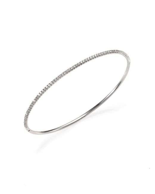 Roberto Coin | Metallic Diamond & 18k White Gold Oval Bangle Bracelet | Lyst