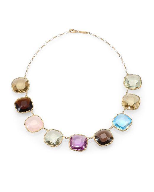 Roberto Coin | Multicolor Semi-precious Multi-stone & 18k Yellow Gold Necklace | Lyst