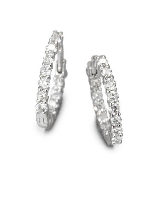 Roberto Coin | Diamond & 18k White Gold Hoop Earrings/1.5 | Lyst