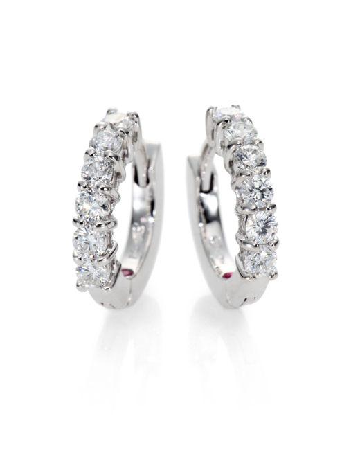 Roberto Coin | Metallic Diamond & 18k White Gold Huggie Hoop Earrings/0.5 | Lyst