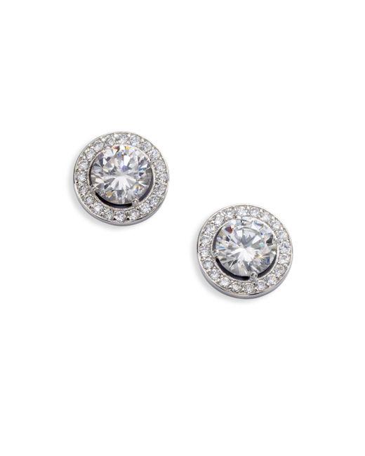 Adriana Orsini | Metallic Sterling Silver Round Framed Stud Earrings | Lyst
