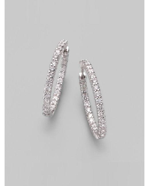Roberto Coin | Metallic Diamond & 18k White Gold Hoop Earrings/1&frac14 | Lyst