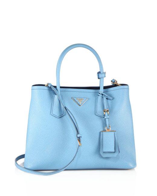 Prada - Blue Saffiano Cuir Medium Double Bag - Lyst