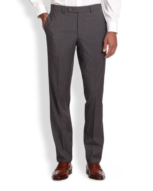 Saks Fifth Avenue | Gray Wool Check Trousers for Men | Lyst