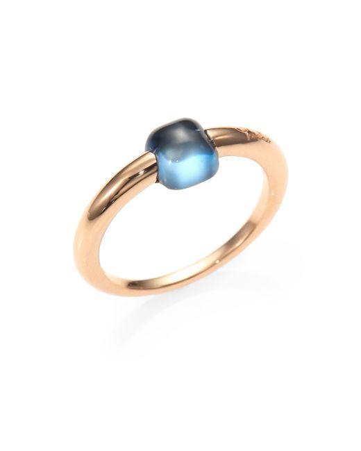 Pomellato | M'ama Non M'ama Blue Topaz & 18k Rose Gold Square Cabochon Ring | Lyst