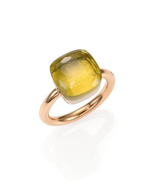 Pomellato | Pink Nudo Lemon Quartz & 18k Rose Gold Large Ring | Lyst