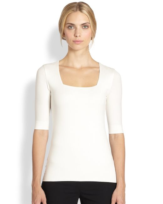Akris Punto | White Elements Jersey Square Neck Top | Lyst
