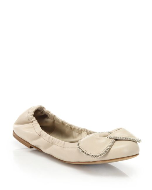 See By Chloé | Natural Clara Chain-detail Leather Ballet Flats | Lyst