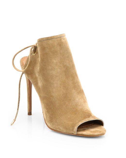 Aquazzura | Natural Mayfair Suede Sandals | Lyst