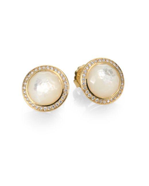 Ippolita | Metallic Lollipop Mother-of-pearl, Diamond & 18k Yellow Gold Stud Earrings | Lyst