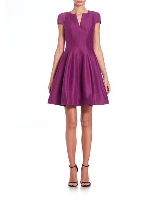Halston Heritage | Purple Cap-sleeve Sateen Dress | Lyst