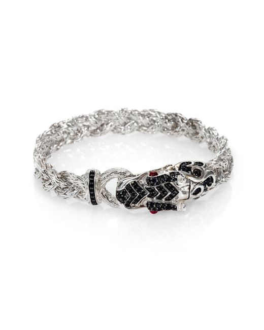 John Hardy | Metallic Naga Black Sapphire & Sterling Silver Dragon Braided Bracelet | Lyst