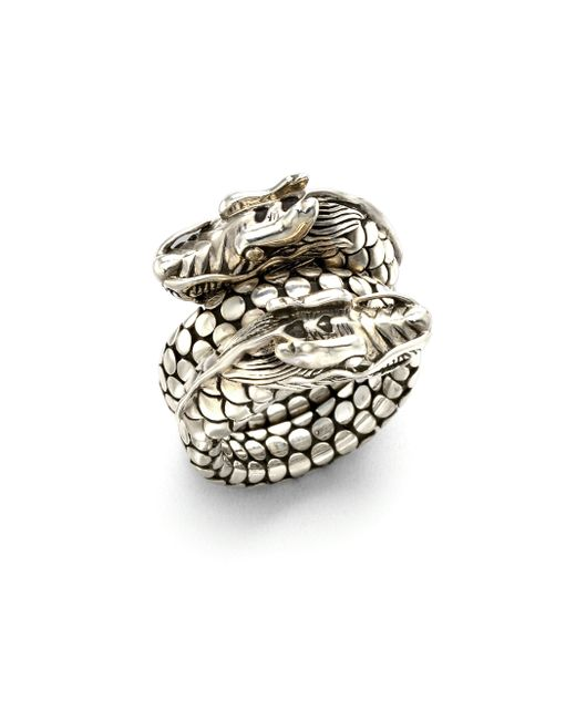 John Hardy | Metallic Naga Sterling Silver Dragon Dot Coil Ring | Lyst
