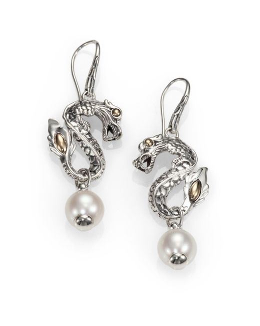 John Hardy | Metallic Naga Freshwater White Pearl, 18K Yellow Gold & Sterling Silver Dragon Drop Earrings | Lyst