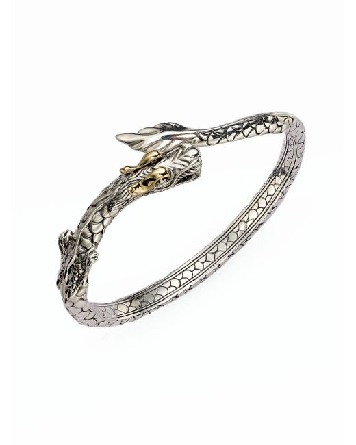 John Hardy | Metallic Naga 18k Yellow Gold & Sterling Silver Dragon Slim Kick Cuff Bracelet | Lyst