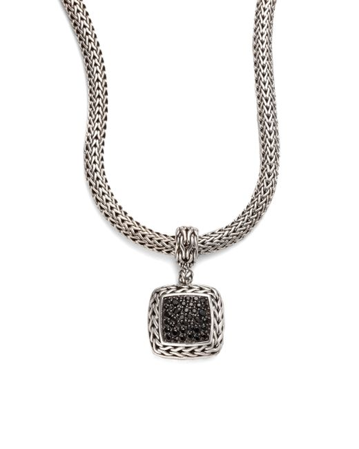 John Hardy | Classic Chain Black Sapphire & Sterling Silver Medium Square Pendant | Lyst