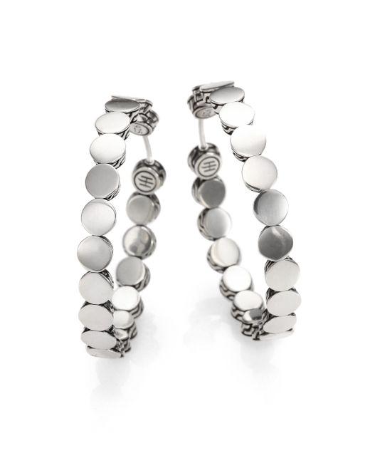 John Hardy | Metallic Dot Sterling Silver Hoop Earrings/1.5 | Lyst