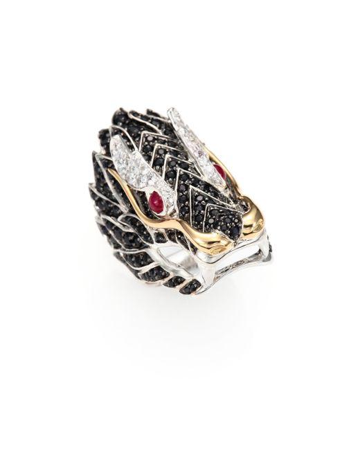 John Hardy | Multicolor Naga Black Sapphire, Ruby, 18k Yellow Gold & Sterling Silver Dragon Ring | Lyst