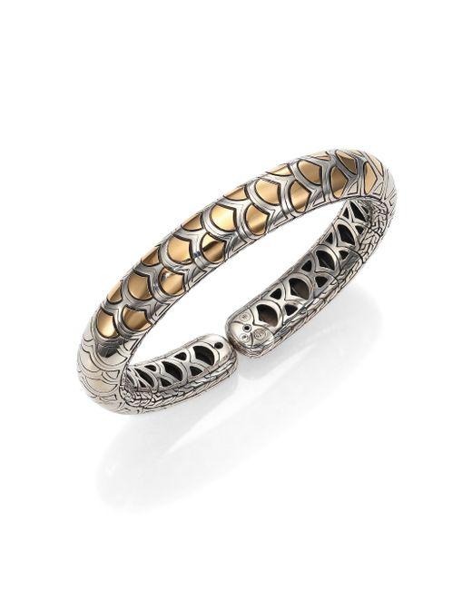 John Hardy | Metallic Naga 18k Yellow Gold & Sterling Silver Slim Flex Cuff Bracelet | Lyst