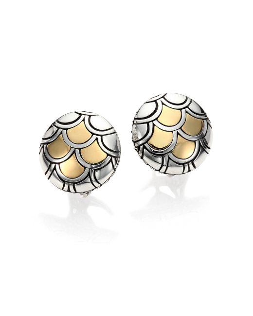 John Hardy | Metallic Naga 18k Yellow Gold & Sterling Silver Button Earrings | Lyst
