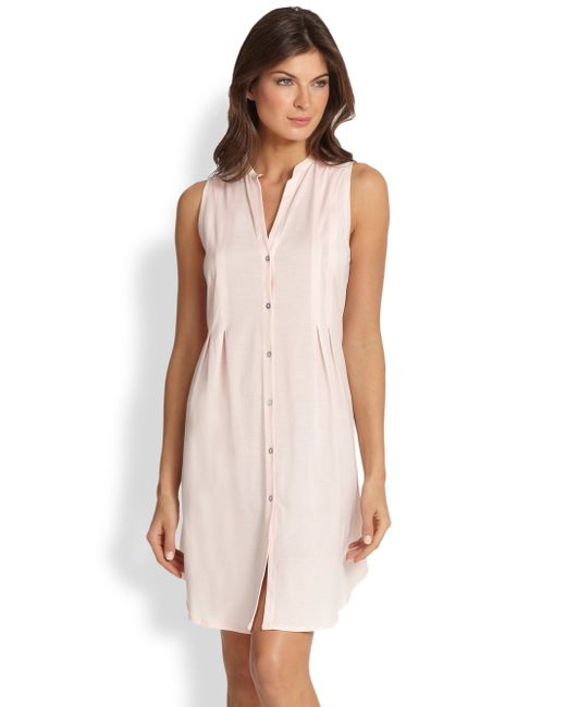 Hanro | Pink Button-front Tank Gown | Lyst