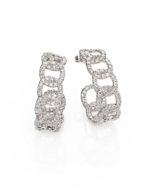 Roberto Coin - Metallic Diamond & 18k White Gold Link J-hoop Earrings - Lyst