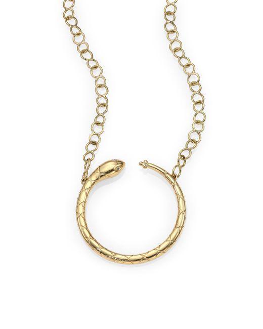 Temple St. Clair | Metallic Tree Of Life Diamond & 18k Yellow Gold Ourobouros Serpent Necklace | Lyst