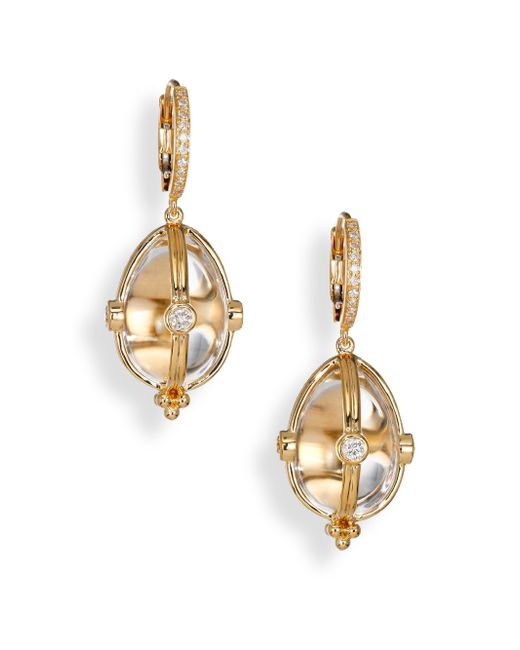 Temple St. Clair | Metallic Classic Rock Crystal, Diamond & 18k Yellow Gold Amulet Drop Earrings | Lyst