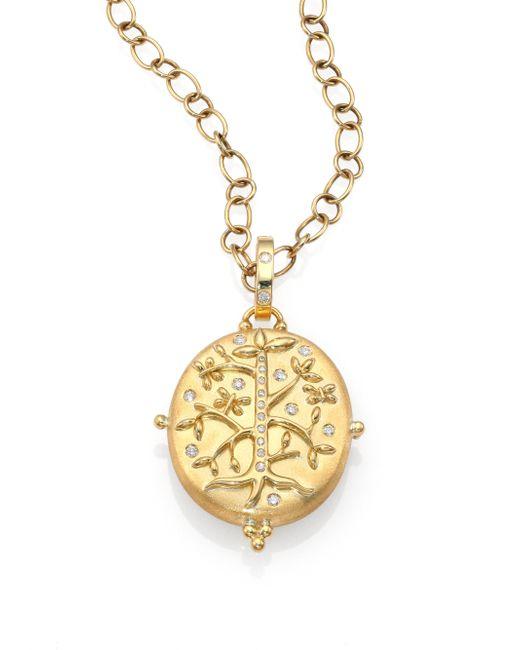 Temple St. Clair | Metallic Tree Of Life Diamond & 18k Yellow Gold Locket | Lyst