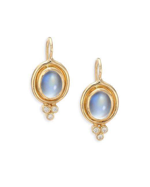 Temple St. Clair | Metallic Royal Blue Moonstone, Diamond & 18k Yellow Gold Drop Earrings | Lyst
