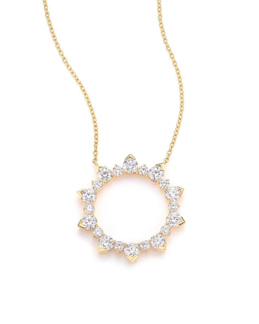Hearts On Fire - Metallic Aerial Diamond & 18k Yellow Gold Eclipse Pendant Necklace - Lyst