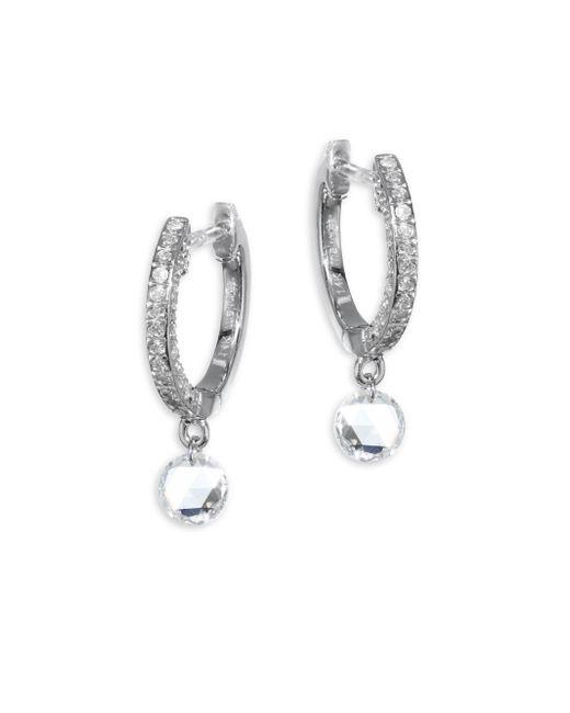 Meira T - Metallic Drilled Diamond Huggie Hoop Earrings - Lyst