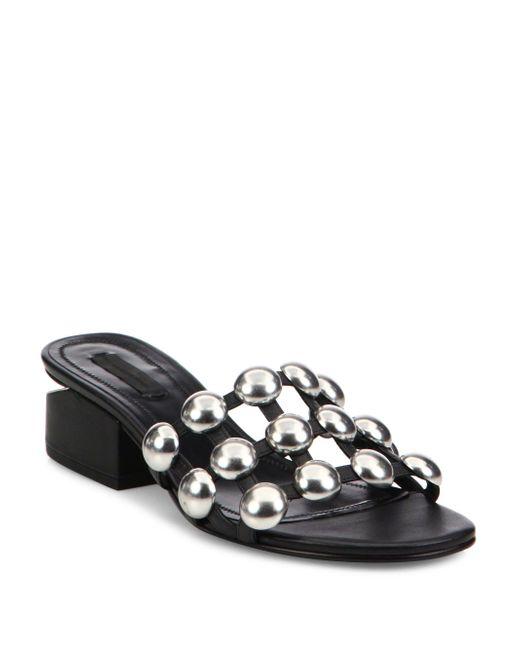 Alexander Wang - Black Lou Tilt-heel Studded Leather Slides - Lyst