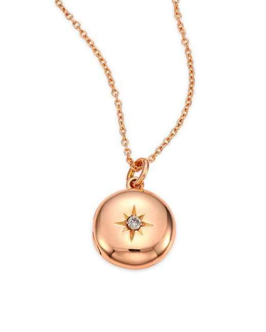 Astley Clarke - Metallic Diamond & 14k Rose Gold Small Astley Locket Necklace - Lyst