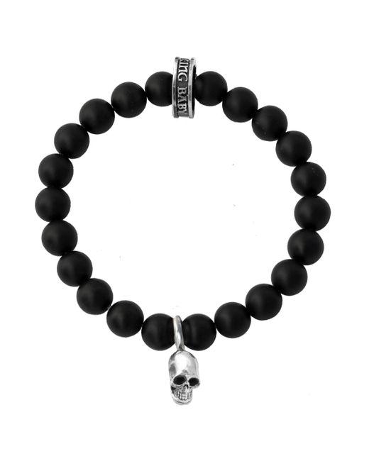 King Baby Studio - Black Onyx Sterling Silver Skull Beaded Bracelet for Men - Lyst