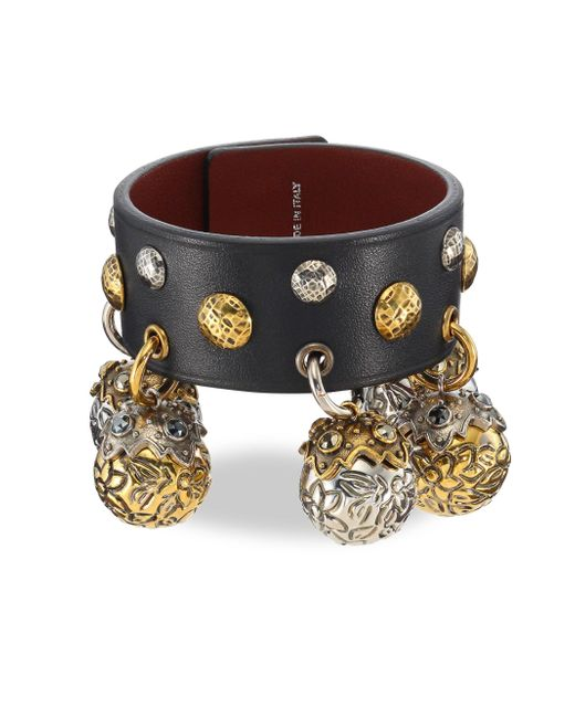 Alexander McQueen - Black Studded Leather Charm Bracelet - Lyst