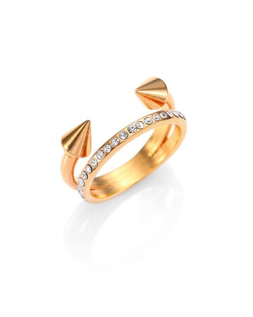 Vita Fede | Metallic Ultra Mini Titan Crystal Double-band Ring/rose Goldtone | Lyst