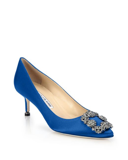 Manolo Blahnik | Blue Hangisi 50 Satin Pumps | Lyst