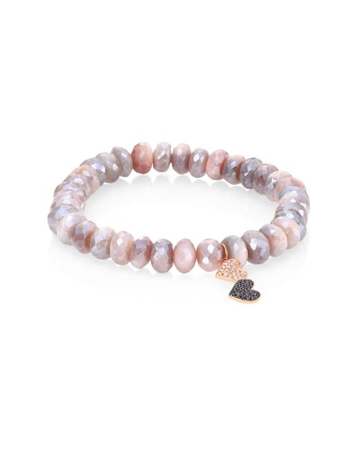 Sydney Evan | Gray Double Heart Diamond, Moonstone & 14k Rose Gold Beaded Stretch Bracelet | Lyst