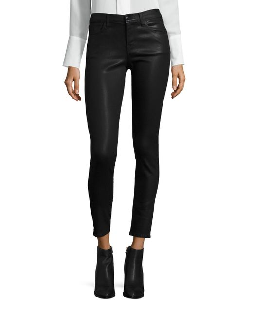 J Brand | Black 620 Mid-rise Coated Skinny Jeans | Lyst