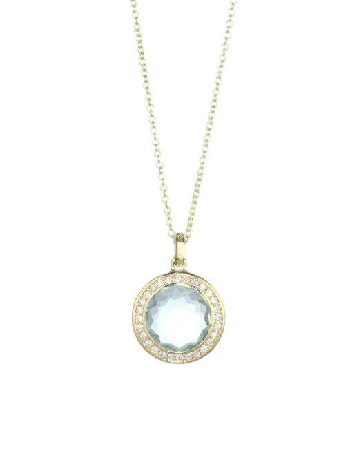 Ippolita - Metallic Lollipop 18k Yellow Gold, Green Amethyst Over Blue Topaz & Diamond Pendant Necklace - Lyst