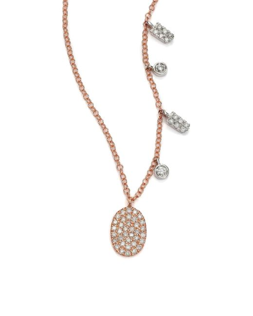 Meira T - Pink Women's Diamond & 14k Rose Gold Oval Pendant Necklace - Rose Gold - Lyst
