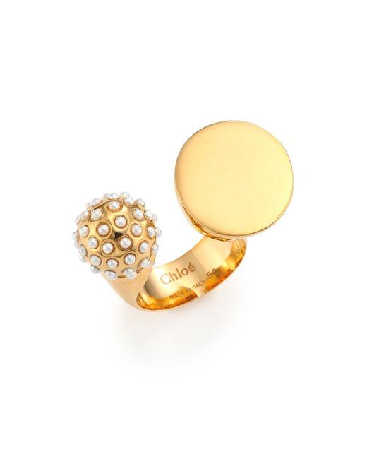 Chloé - Metallic Darcey Faux Pearl Sphere Open Ring - Lyst