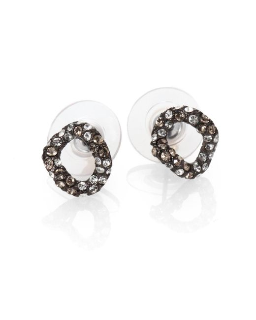 Alexis Bittar | Metallic Elements Jardin De Papillon Crystal Link Stud Earrings/gunmetal | Lyst