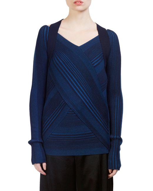 Cedric Charlier - Blue Virgin Wool Striped Strap-detail Sweater - Lyst