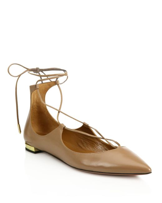 Aquazzura - Natural Christy Leather Lace-up Flats - Lyst