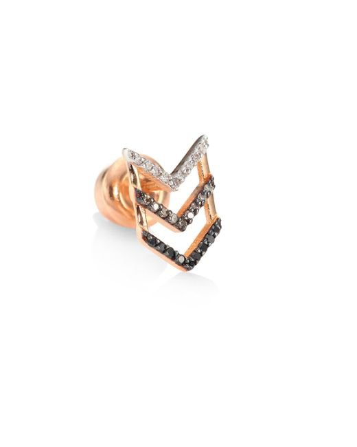 Kismet by Milka - Multicolor Trio Chevron Diamond & 14k Rose Gold Single Stud Earring - Lyst