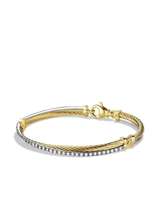 David Yurman | Metallic Crossover Bracelet With Diamonds In Gold And White Gold | Lyst